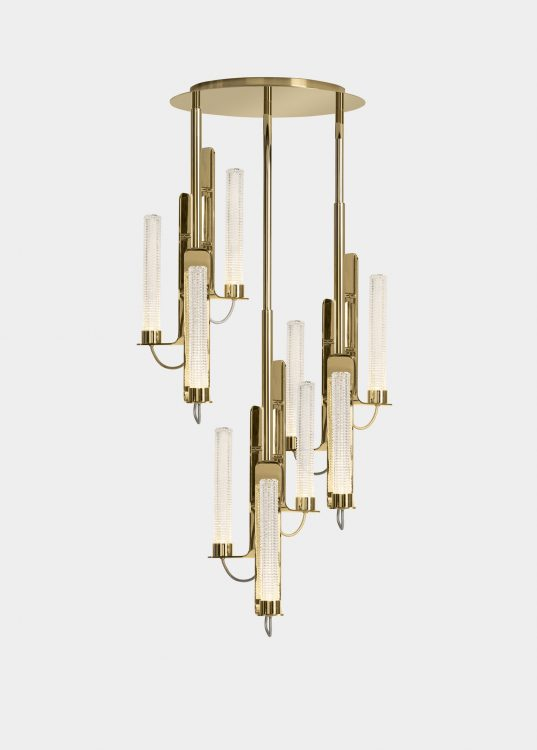Ducale Flute Up - Suspended Lamp - Triple Unit - Kube glass