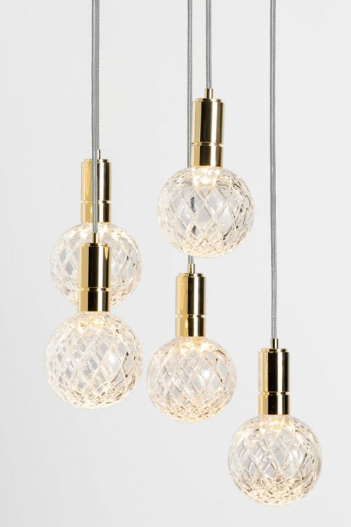 Ducale Sphera Down - Suspended Lamp - 5 Units - Rhombus glass