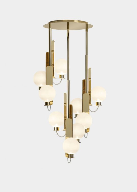 Ducale Sphera Up - Suspended Lamp - Triple Unit - Smooth glass