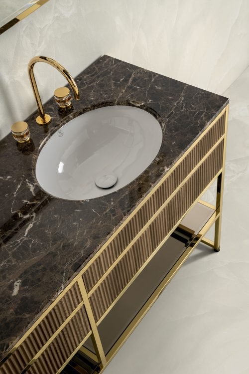 Academy Ribbed walnut vanity unit, marble top, Charlotte faucet
