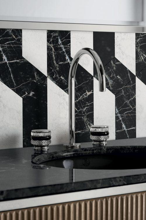 Academy Ribbed walnut vanity unit, Charlotte faucet