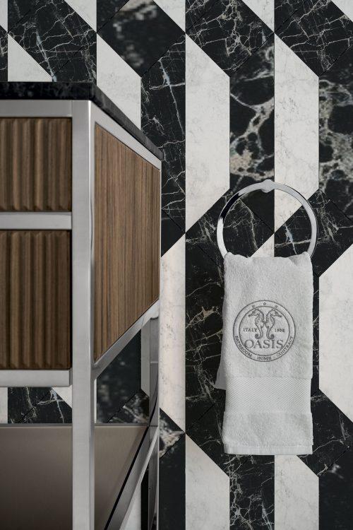 Academy Ribbed walnut vanity unit, towel holder