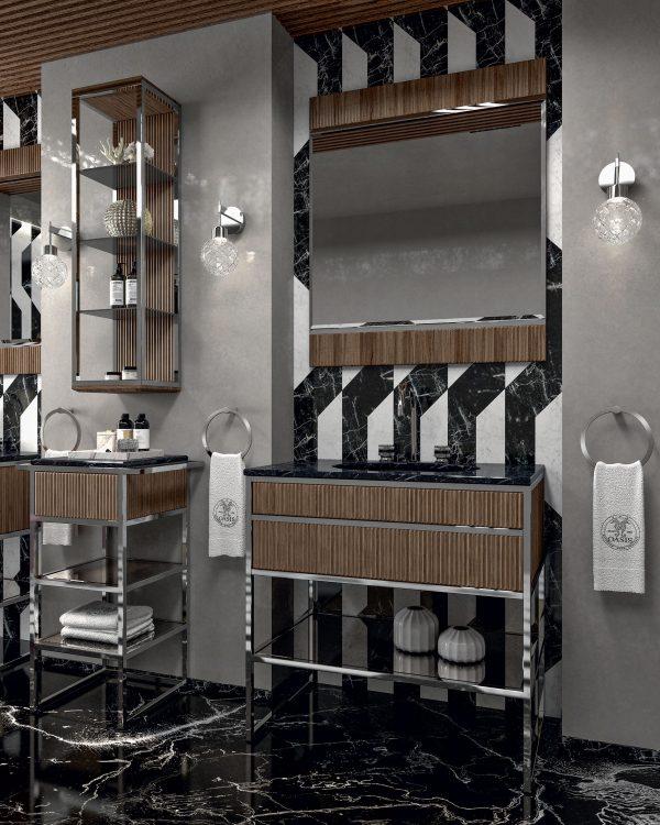 Academy Ribbed walnut vanity unit, Ducal wall lamp, towel holder, wall unit