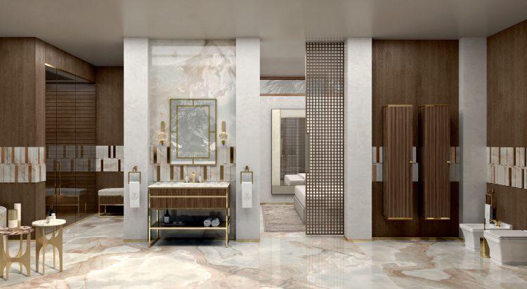 Academy Ribbed walnut vanity unit, Casablanca mirror, Ducal wall lamp, tall unit