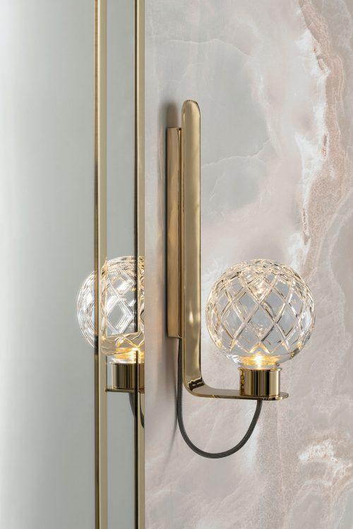 Academy Ribbed walnut vanity unit, Casablanca mirror, Ducal wall lamp