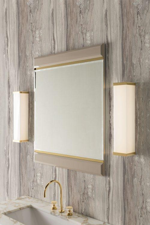 Prestige vanity unit, Lino finish and gold metal, Academy mirror, Murano 3 wall lamp