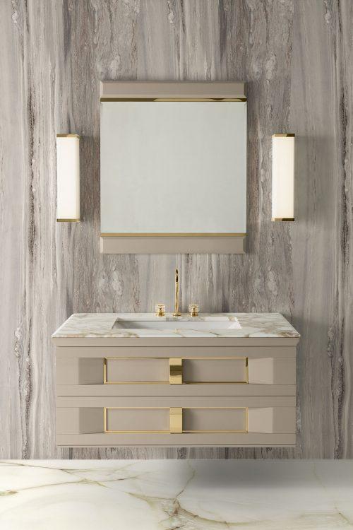 Prestige vanity unit, Lino finish and gold metal, Academy mirror, Calacatta Oro marble top