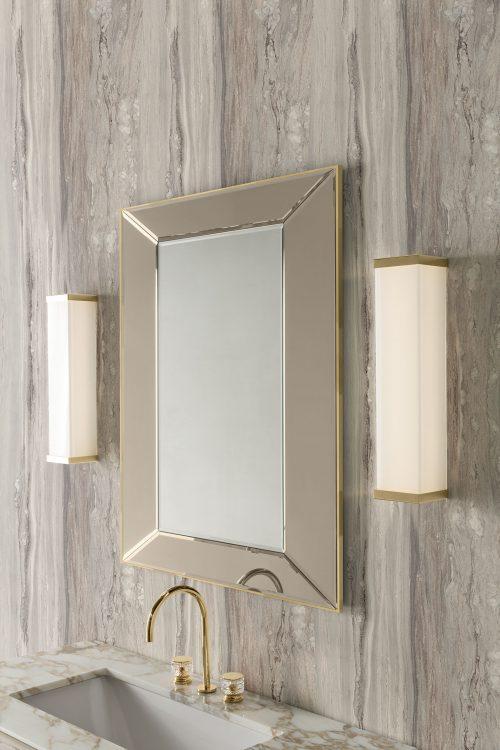 Prestige vanity unit, Lino finish and gold metal, Prisma mirror, Murano 3 wall lamp