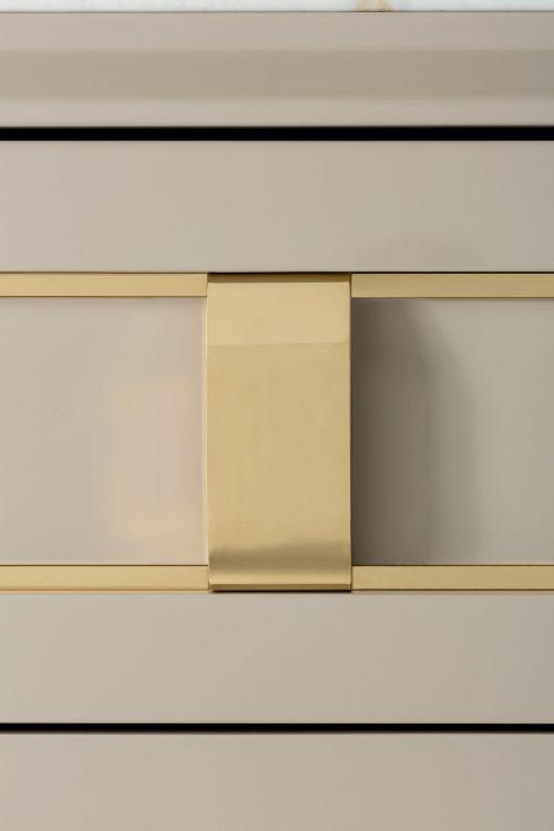 Prestige vanity unit, Lino finish and gold metal handles