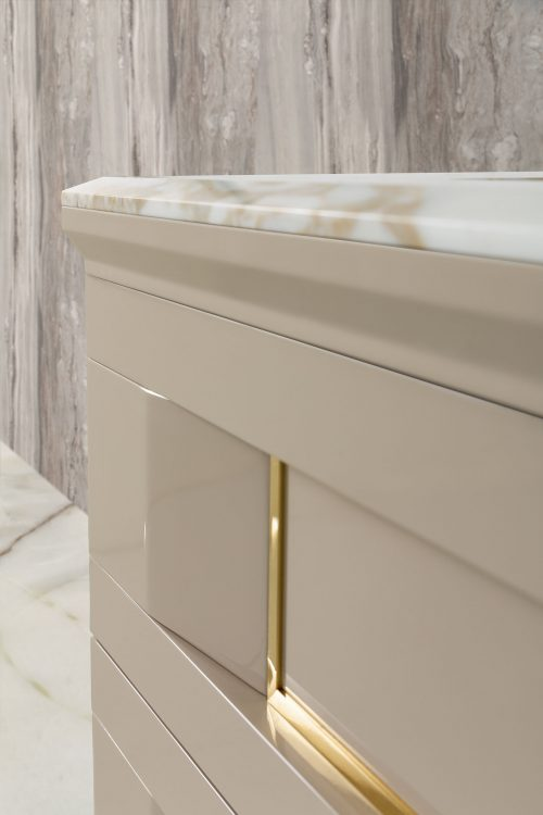 Prestige vanity unit, Lino finish and gold metal, Prisma mirror, Calacatta Oro marble top