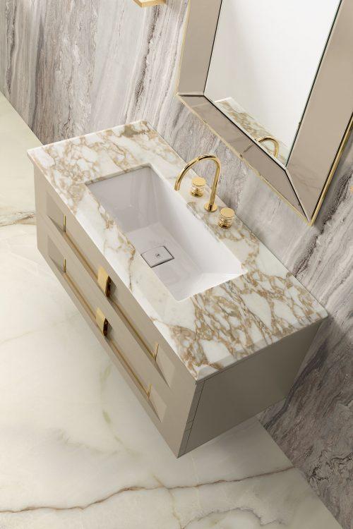 Prestige vanity unit, Lino finish and gold metal, Prisma mirror, Calacatta Oro marble top and under countertop washbasin