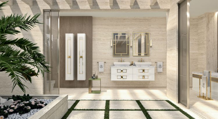 Prestige vanity unit, Bianco finish and gold metal, Casablanca mirror, Ducale Up wall lamp