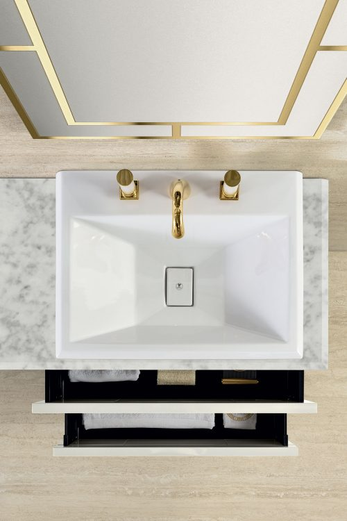Prestige vanity unit, Bianco finish and gold metal, Casablanca mirror, Bianco Statuario marble top, countertop washbasin