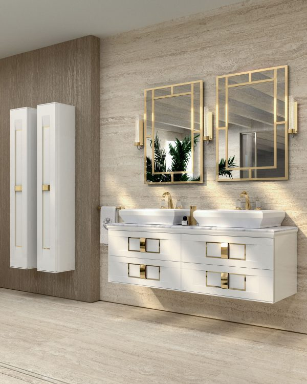 Prestige vanity unit, Bianco finish and gold metal, Casablanca mirror, Ducale Up wall lamp, tall units