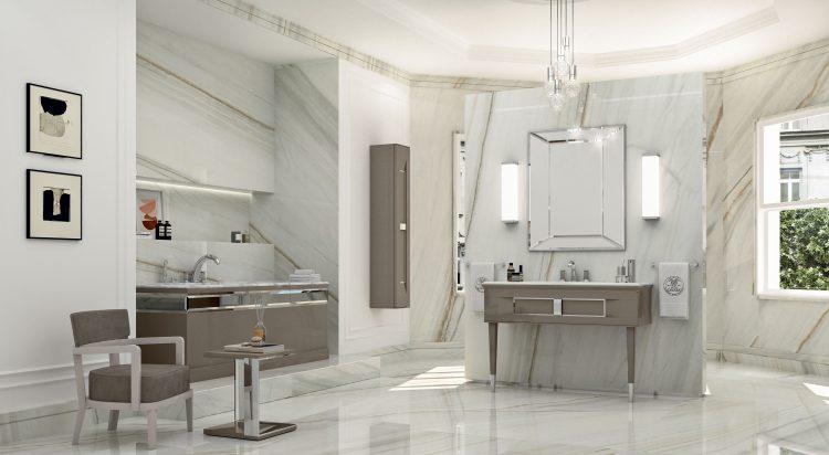 Prestige vanity unit, Vulcano finish and chrome metal, Prisma mirror, Murano 3 wall lamp, Academy bathtub