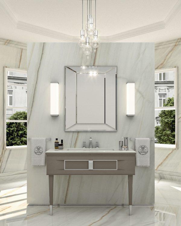 Prestige vanity unit, Vulcano finish and chrome metal, Prisma mirror, Murano 3 wall lamp