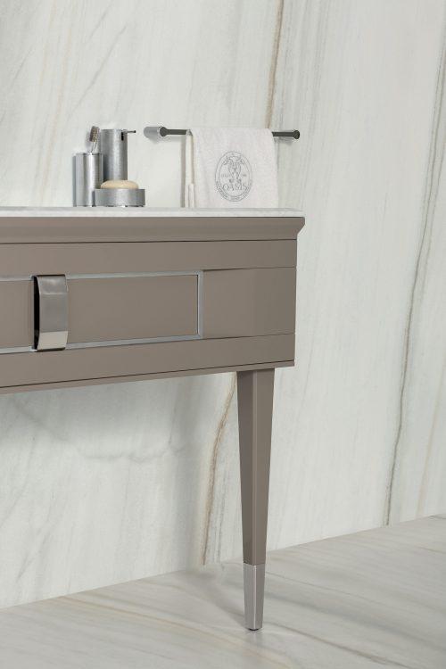 Prestige vanity unit, Vulcano finish and chrome metal,