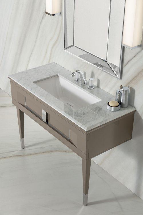 Prestige vanity unit, Vulcano finish and chrome metal, Prisma mirror, Lasa fantastico marble top