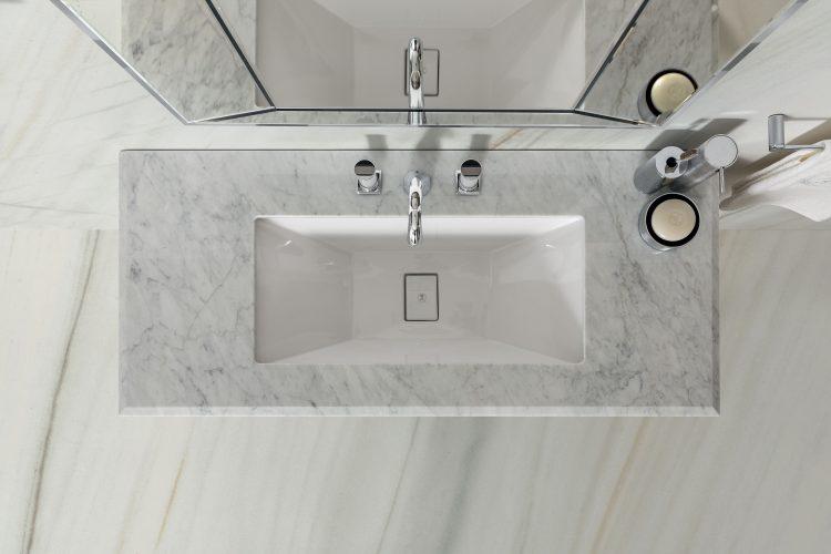 Prestige vanity unit, Vulcano finish and chrome metal, Prisma mirror, Lasa fantastico marble top, under countertop washbasin