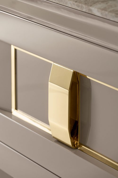Prestige vanity unit, Vulcano finish and gold metal handle