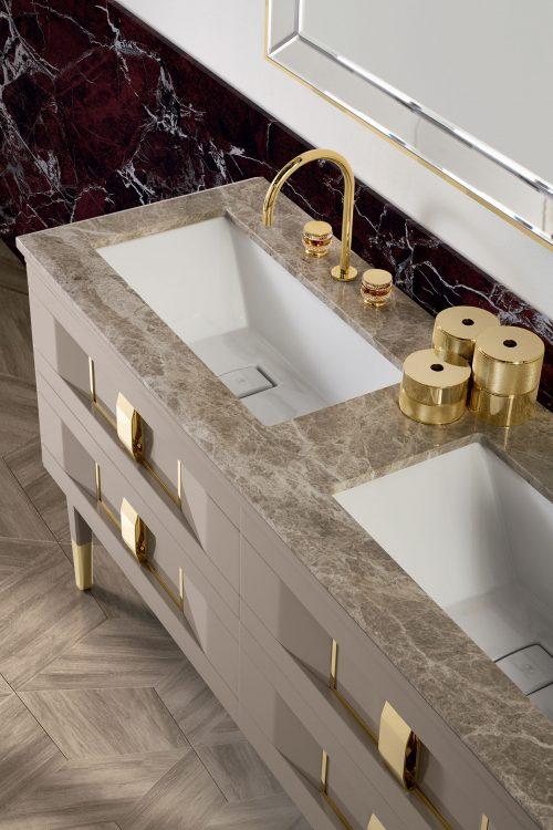 Prestige vanity unit, Vulcano finish and gold metal, Prisma mirror, Emperador Light marble top