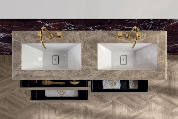 Prestige vanity unit, Vulcano finish and gold metal, Emperador Light marble top, under countertop washbasin