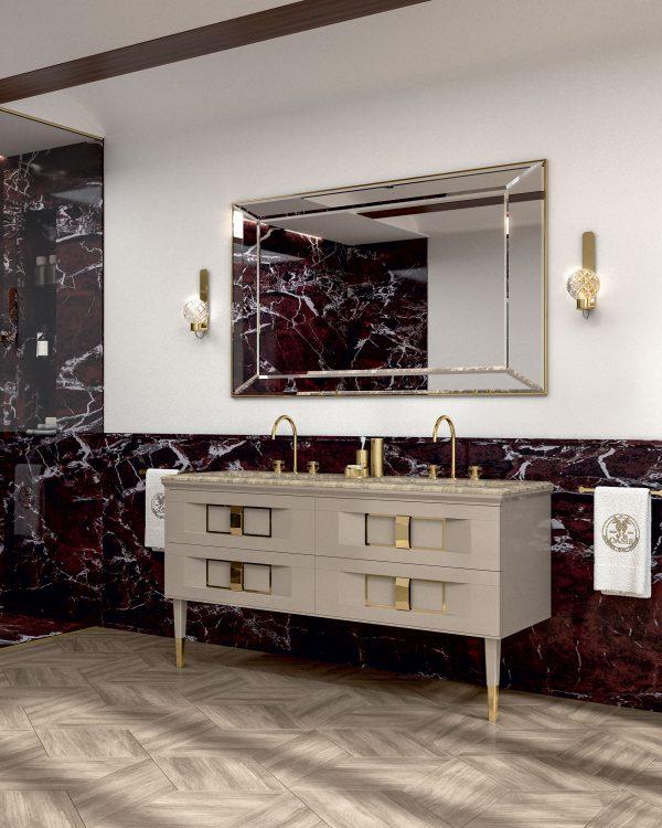 Prestige vanity unit, Vulcano finish and gold metal, Prisma mirror, Ducale Sphere wall lamp