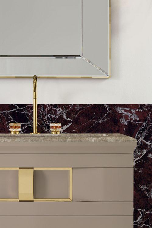 Prestige vanity unit, Vulcano finish and gold metal, Prisma mirror, Charlotte faucet