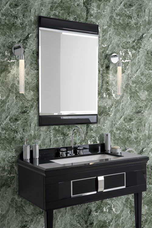 Prestige vanity unit, Black finish and chrome metal, Academy mirror, Ducale Down wall lamp, Nero Marquinia marble top