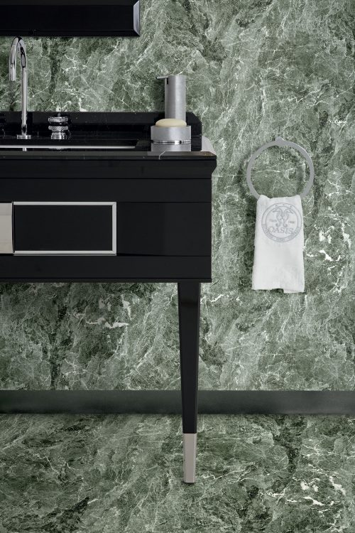 Prestige vanity unit, Black finish and chrome metal, Academy mirror, Ducale Down wall lamp, Nero Marquinia marble top and backsplash