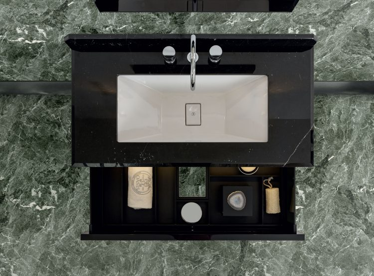 Prestige vanity unit, Black finish and chrome metal, Academy mirror, Ducale Down wall lamp, Nero Marquinia marble top, under countertop washbasin
