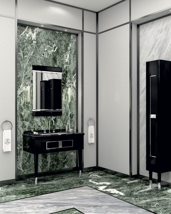 Prestige vanity unit, Black finish and chrome metal, Academy mirror, Ducale Down wall lamp, tall unit