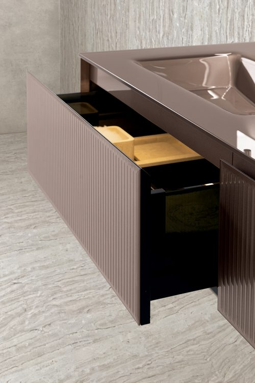 Eden vanity unit, Ribbed Bronze glass finish, integrated glass top