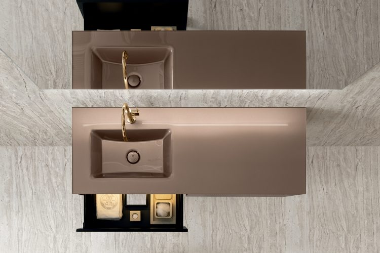 Eden vanity unit, Ribbed Bronze glass finish, integrated glass top, Dalì Full mirror