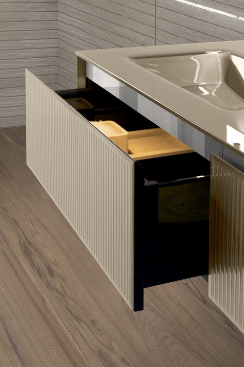 Eden vanity unit, Ribbed Lino glass finish, integrated glass top, chrome detail