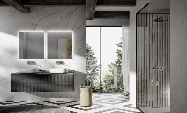 Eden vanity unit, Grigio Medio glass finish, glass top, countertop washbasin, Dal' mirror