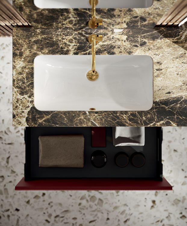 Eden vanity unit, Ribbed Rosso Ekalea glass finish, marble top, undercounter washbasin