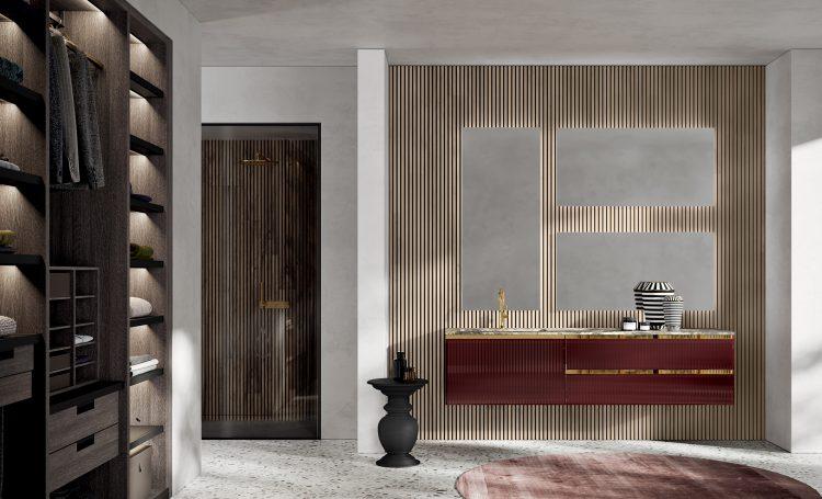 Eden vanity unit, Ribbed Rosso Ekalea glass finish, marble top, undercounter washbasin, Dalì mirror