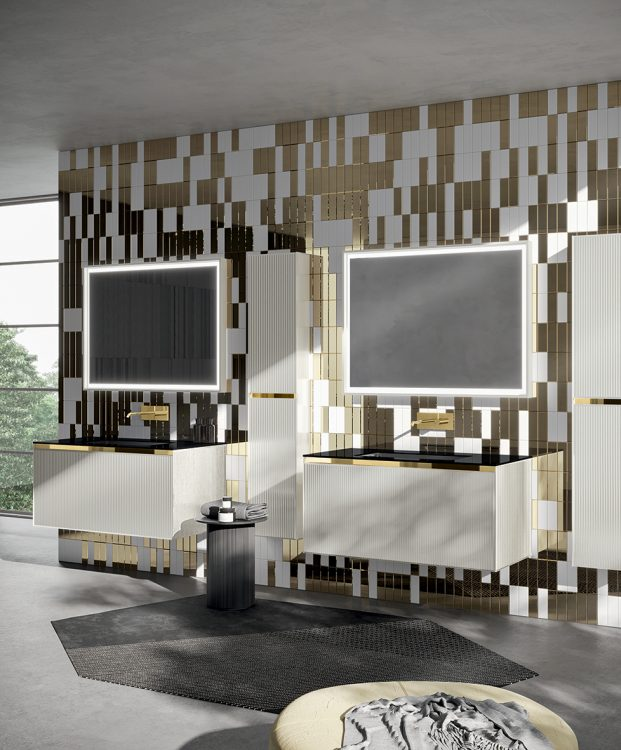 Eden vanity unit, Bianco Polare glass finish, integrated Black glass top, My Sun mirror, tall unit