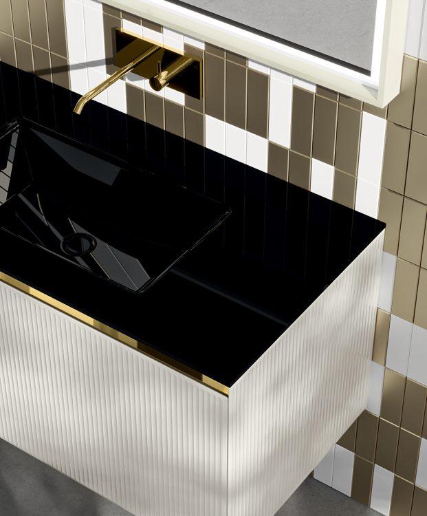 Eden vanity unit, Bianco Polare glass finish, integrated Black glass top, My Sun mirror