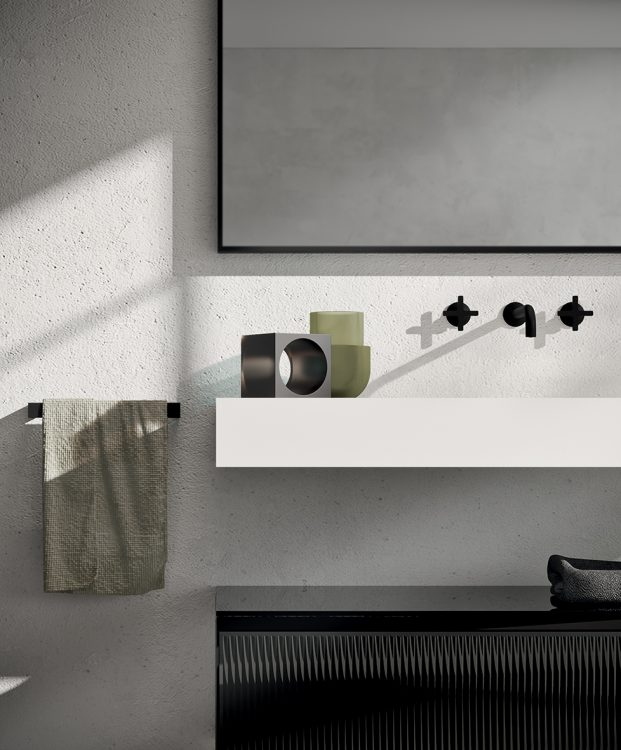 Eden vanity unit, Black glass finish, suspended Corian top, Mirò mirror